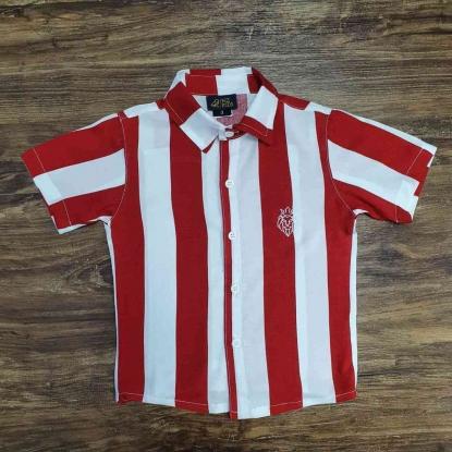 Camisa Listrada Vermelha e Branca Infantil