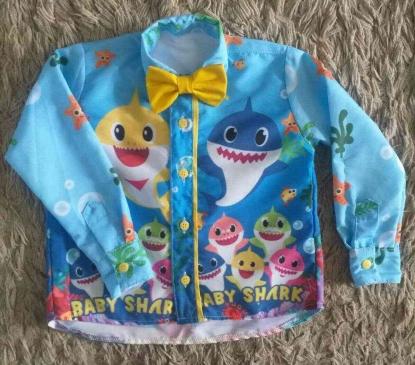 Camisa Longa Baby Shark Azul Infantil