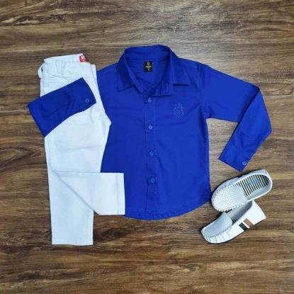 Camisa Manga Longa Azul com Calça Branca Infantil