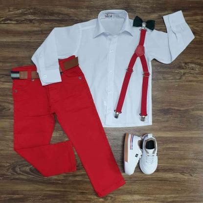 Camisa Manga Longa Branca com Calça Vermelha Infantil