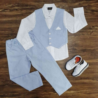 Camisa Manga Longa com Colete e Calça Azul Infantil