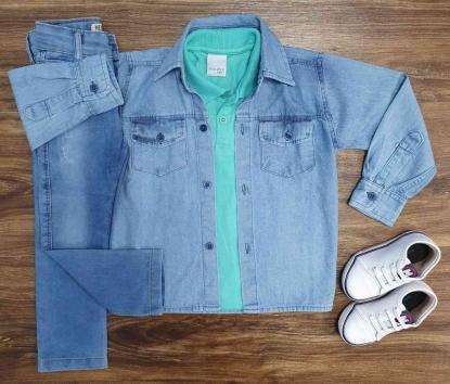 Camisa Manga Longa com Polo Verde e Calça Jeans Infantil