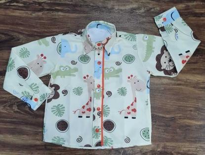 Camisa Longa Safari Bege Infantil