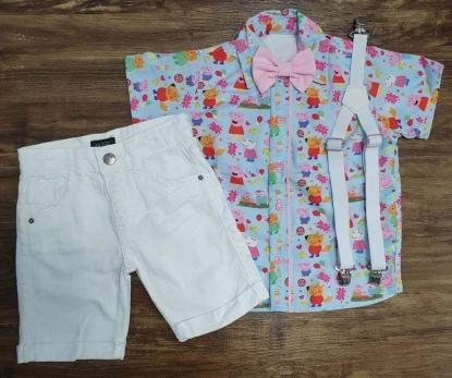 Camisa Peppa Pig com Bermuda Branca Infantil