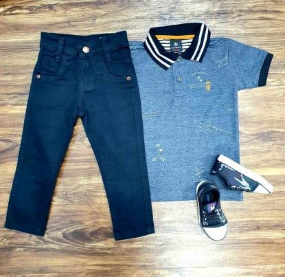 Camisa Polo Club com Calça Infantil