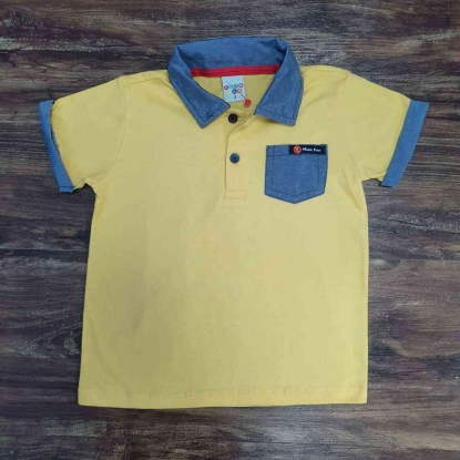 Camisa Polo com Bolso Amarela Infantil