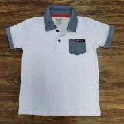 Camisa Polo com Bolso Branca Infantil