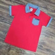 Camisa Polo com Bolso Vermelha Infantil