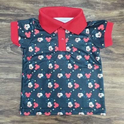 Camisa Polo Mickey Preta Infantil