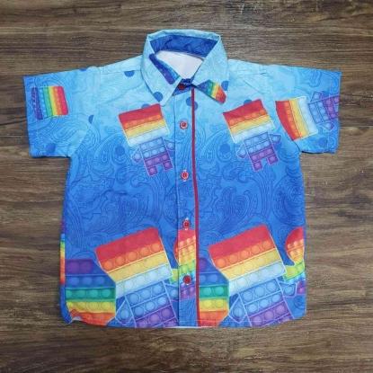 Camisa Pop It Fidget Azul Infantil