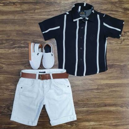 Camisa Preta com Listra Branca e Bermuda Branca Infantil