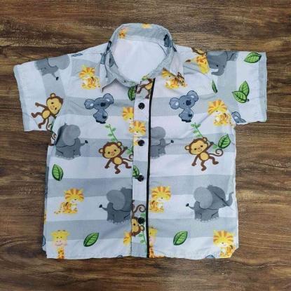 Camisa Safari Cinza Infantil
