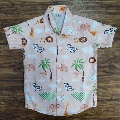 Camisa Safari Rosa Infantil