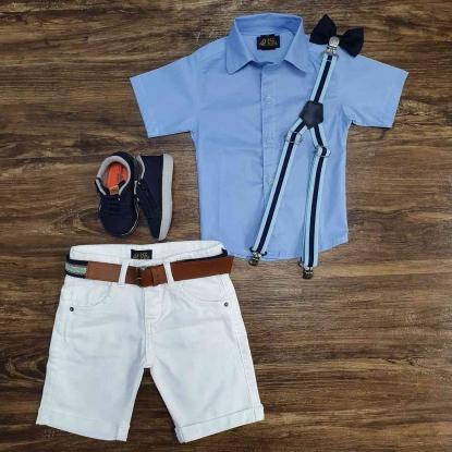 Camisa Social Azul com Bermuda Branca Infantil