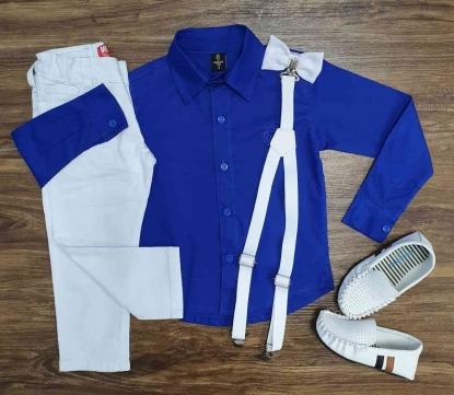 Camisa Social Azul com Calça Jeans Branca Infantil