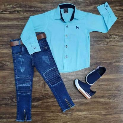 Camisa Social Azul Lisa com Calça Jeans Infantil