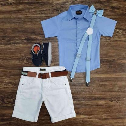 Camisa Social Azul Manga Curta com Bermuda Branca Infantil