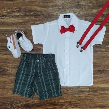 Camisa Social Branca com Bermuda Xadrez Infantil