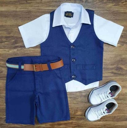 Camisa Social Branca com Colete Azul e Bermuda Infantil