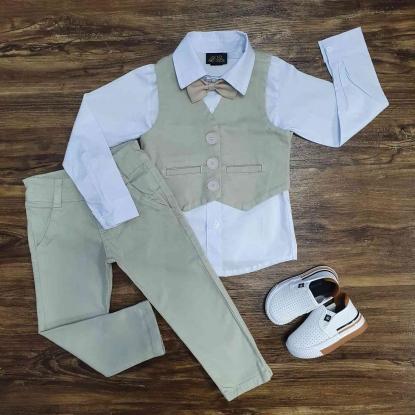 Camisa Social Branca com Colete e Calça Jeans Nude Infantil