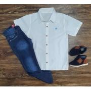 Camisa Social Coroa com Calça Jeans Infantil