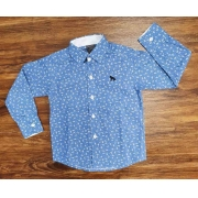 Camisa Social Estampada Azul Infantil