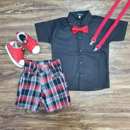 Camisa Social Preta com Bermuda Xadrez Infantil
