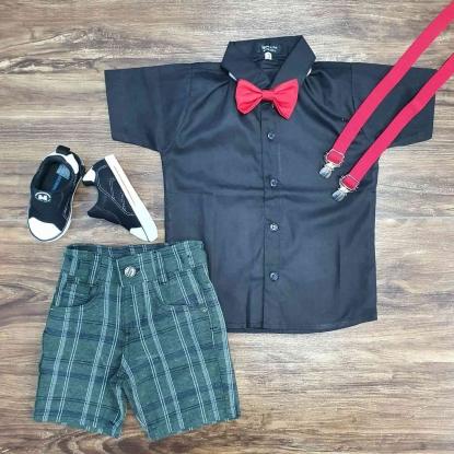 Camisa Social Preta com Bermuda Xadrez Verde Infantil
