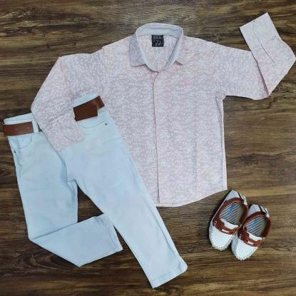 Camisa Social Rosa com Calça Branca Infantil