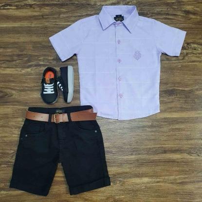 Camisa Social Vinho Claro com Bermuda Preta Infantil