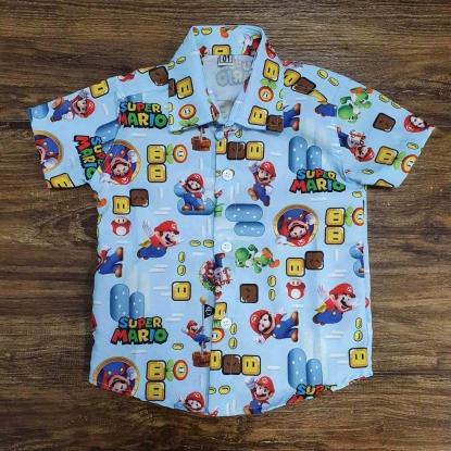 Camisa Super Mario Azul Infantil