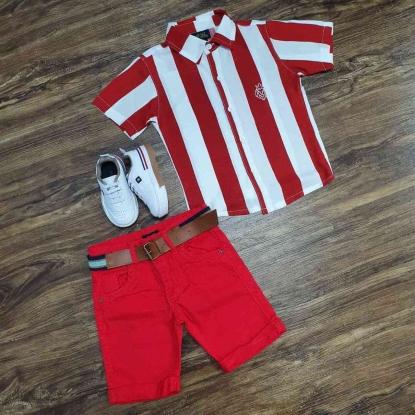 Camisa Vermelha e Branca com Bermuda Vermelha Infantil