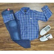 Camisa Xadrez Azul com Calça Jeans Infantil