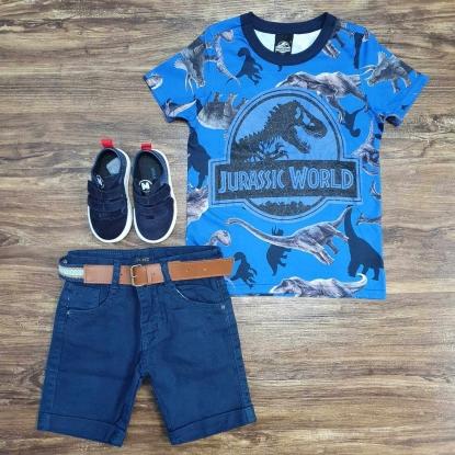 Camiseta Azul Jurassic World com Bermuda Jeans Infantil