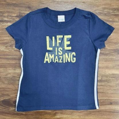 Camiseta Azul Life Is Amazing Infantil