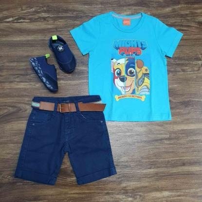 Camiseta Azul Patrulha Canina com Bermuda Infantil