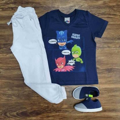Camiseta Azul PJ Masks com Calça Branca Jogger Infantil