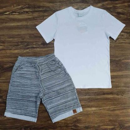 Camiseta Básica Branca com Bermuda Cinza Infantil