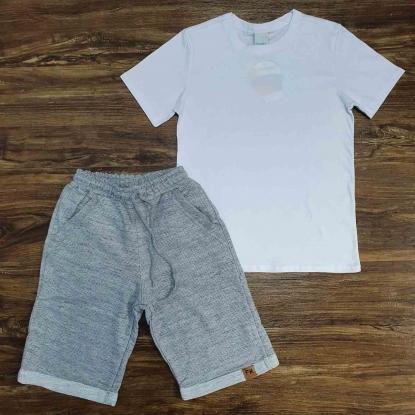 Camiseta Básica Branca com Bermuda Moletom Cinza Infantil