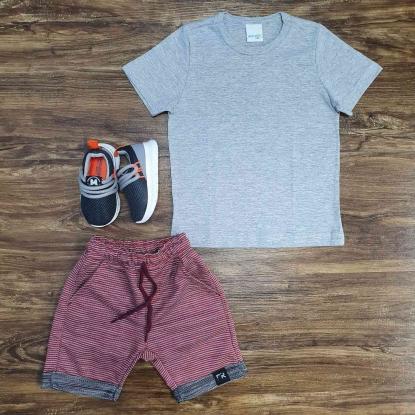 Camiseta Básica Cinza com Bermuda Infantil