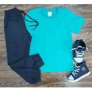 Camiseta Básica Verde Com Calça Moletom Infantil