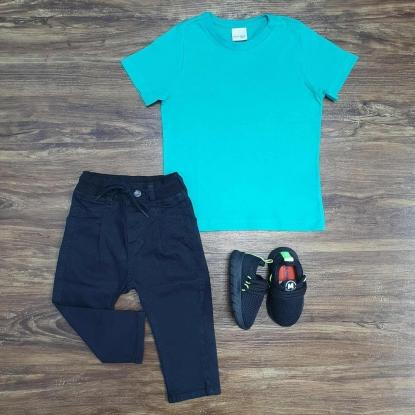Camiseta Básica Verde com Calça Jeans Preta Infantil