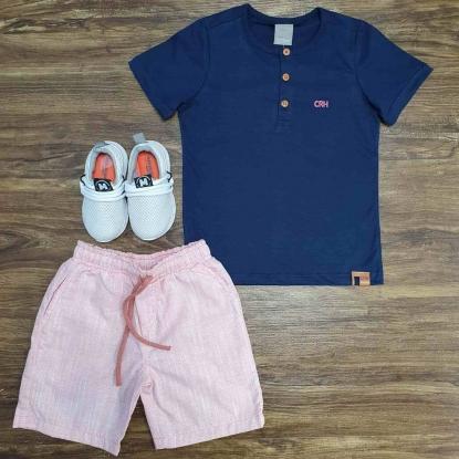 Camiseta Bata Azul Marinho com Bermuda Infantil