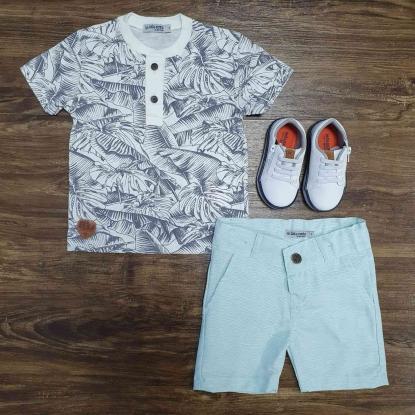 Camiseta Bata com Bermuda Infantil