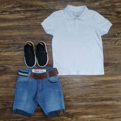 Polo Branca com Bermuda Jeans Infantil