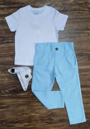 Camiseta Branca com Calça Azul Infantil