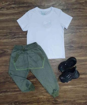 Camiseta Branca com Calça Moletom Verde Infantil