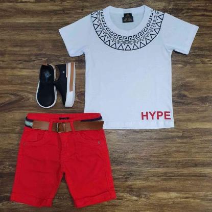 Camiseta Branca Hype com Bermuda Vermelha Infantil