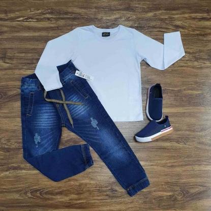 Camiseta Branca Manga Longa com Calça Jogger Infantil