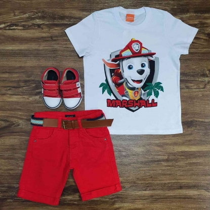 Camiseta Branca Marshall com Bermuda Vermelha Infantil